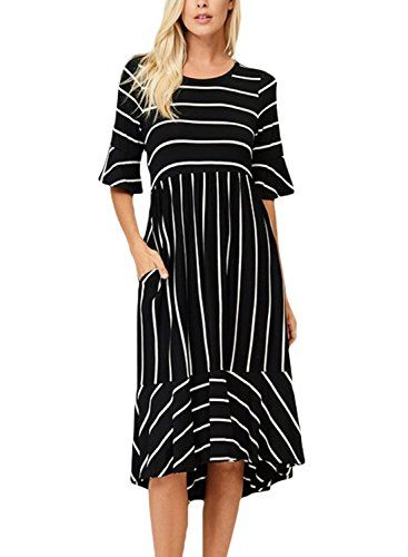f19c8a25be LOSRLY Women s Ruffle Bell-Sleeve Casual Striped High Low Midi Dress Knee  Length With Pockets