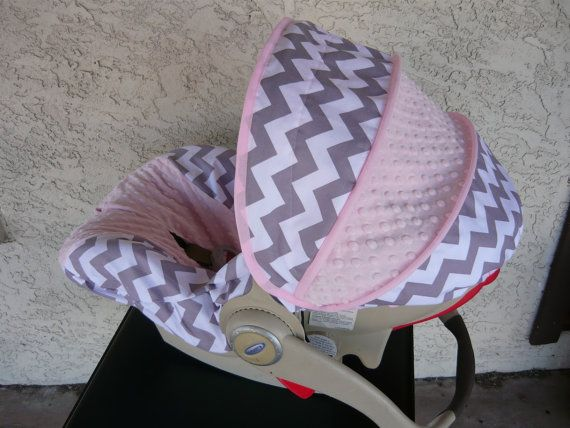 Gray Chevron with Light Pink Pink Infant Car Seat by sewcuteinaz, $65.00