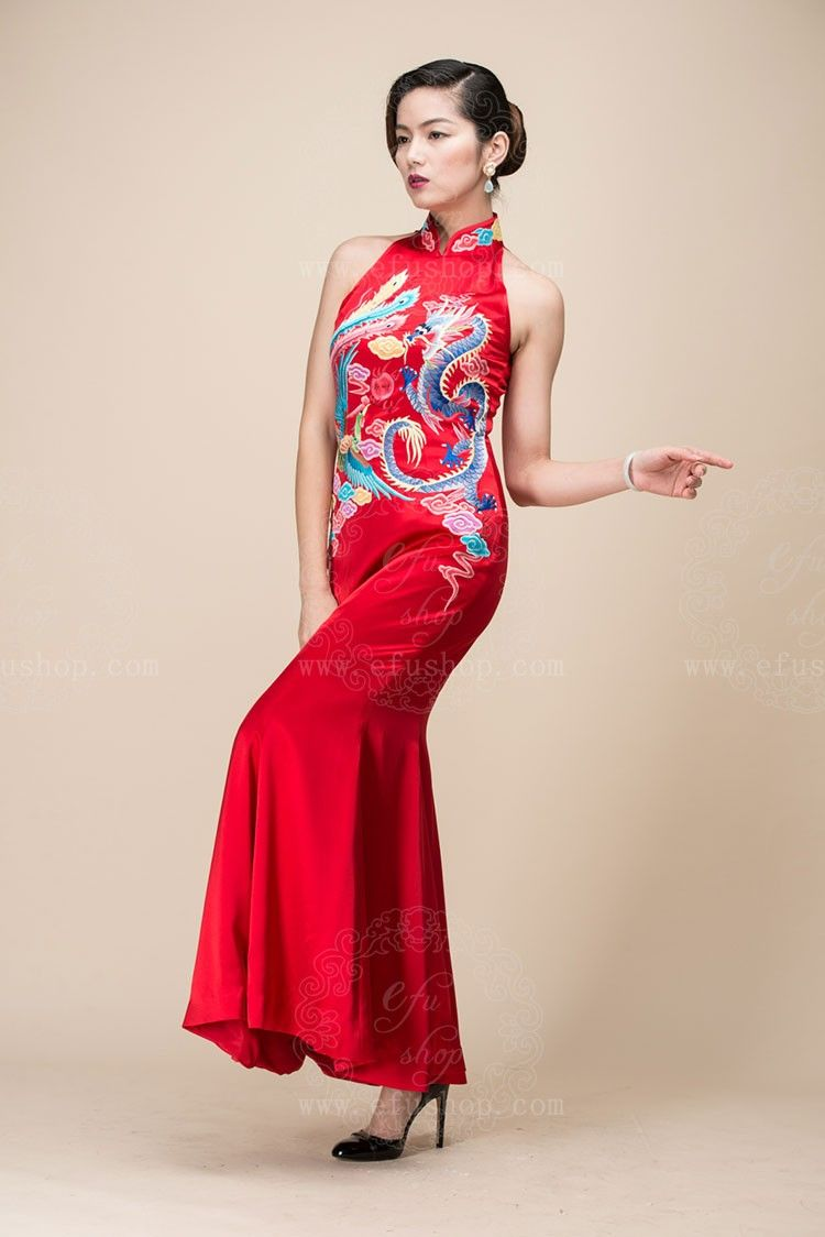 Red Chinese Wedding Dress With Dragon And Phoenix Embroidery Custom Made Cheongsam Chines Chinese Wedding Dress Red Chinese Wedding Dress Red Wedding Dresses [ 1124 x 750 Pixel ]