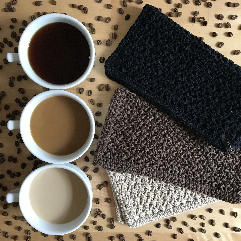 Cotton Washcloth Set Of 3 Ready To Ship Handmade Crochet Etsy Cotton Washcloth Coffee Lover Gifts Handmade Crochet