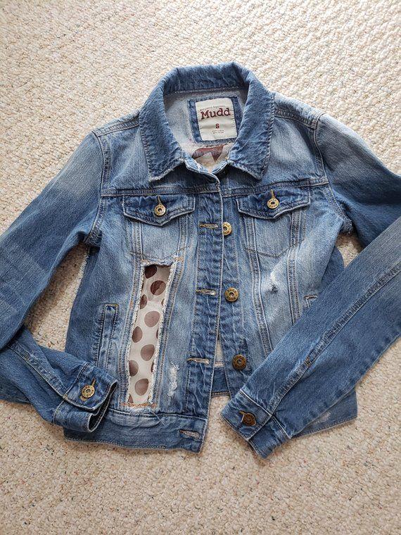 Vintage Jean Jacket Distressed Jean Jacket Upcycled Jean Etsy Chic Clothing Style Vintage Jean Jacket Jackets