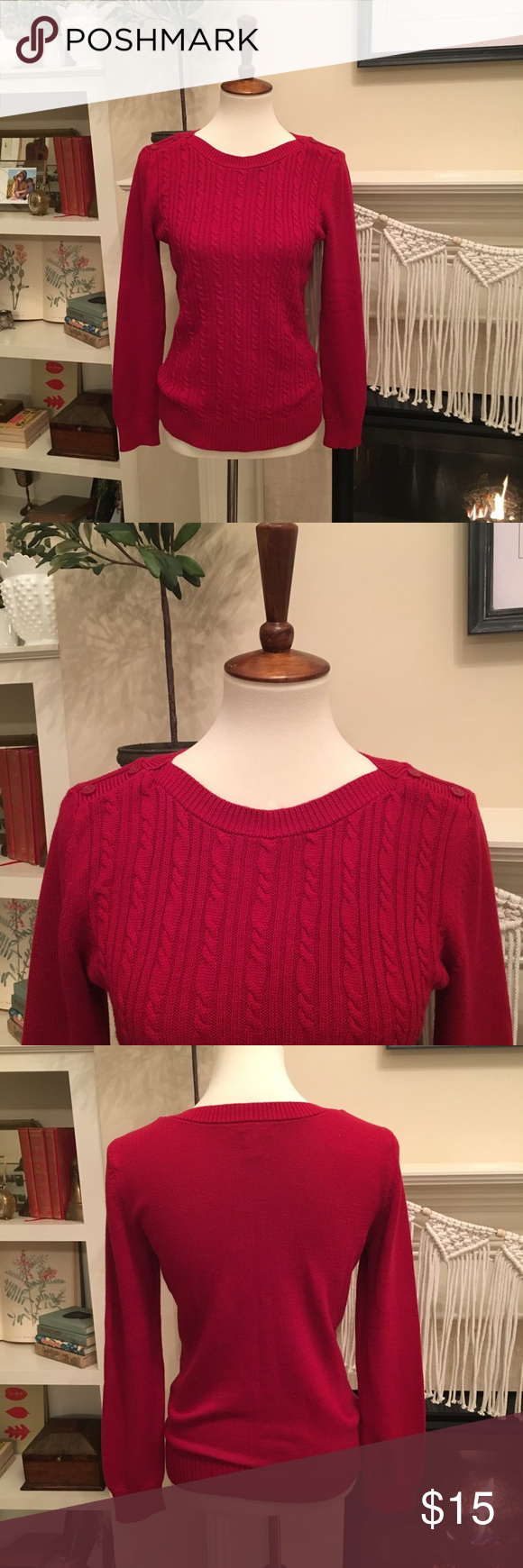 Banana Republic Factory Red Cable knit Sweater M Red
