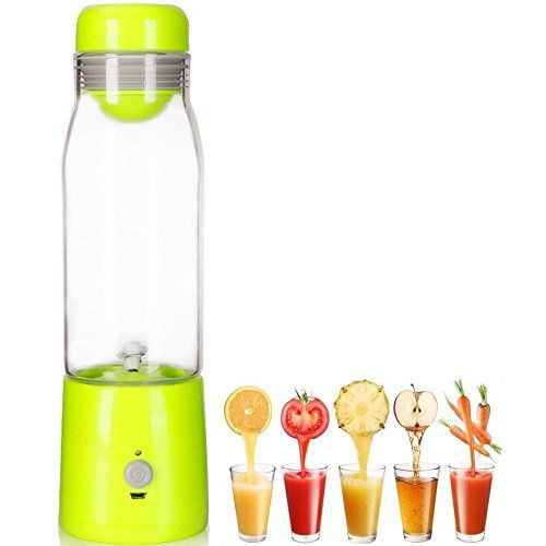 LOHOME Mini USB Rechargable Juicer 380mL Smoothie Blender Portable Lightweight Personal Juicer Cup Vegetable Drink Blender Mixer 25575cm Green