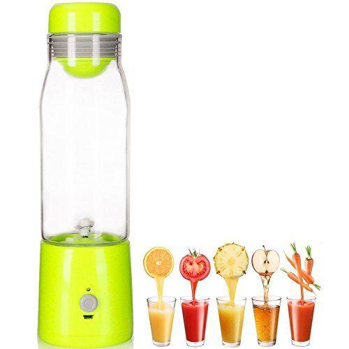 LOHOME Mini USB Rechargable Juicer 380mL Smoothie Blender Portable Lightweight Personal Juicer Cup Vegetable Drink Blender Mixer 25575cm Green