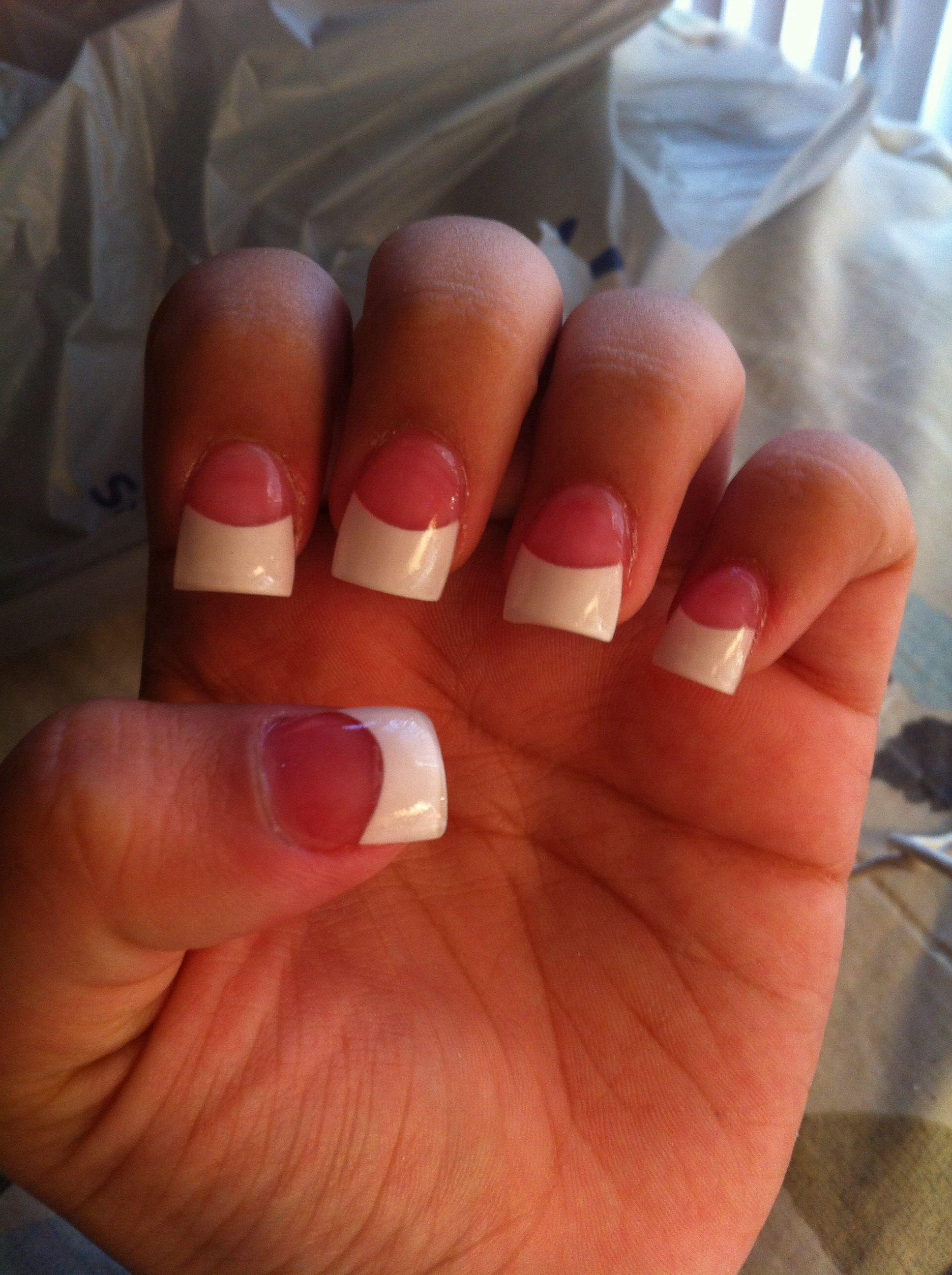Pink And White Full Set Love Pinkandwhite Fullset Acrylics Nails French Manicure Summernails Short
