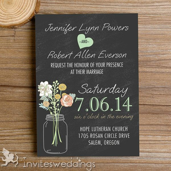 Rustic Mason Jars Chalkboard Wedding Invitations IWI335 Wedding