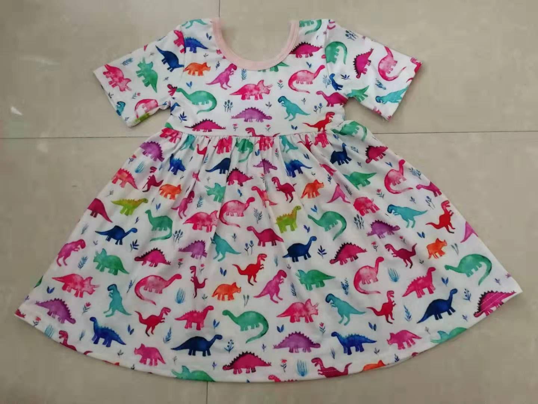 Color Dinosaur Print Girl S Summer Dress With Short Sleeves Girls Dresses Summer Short Dresses Summer Dresses [ 1080 x 1440 Pixel ]