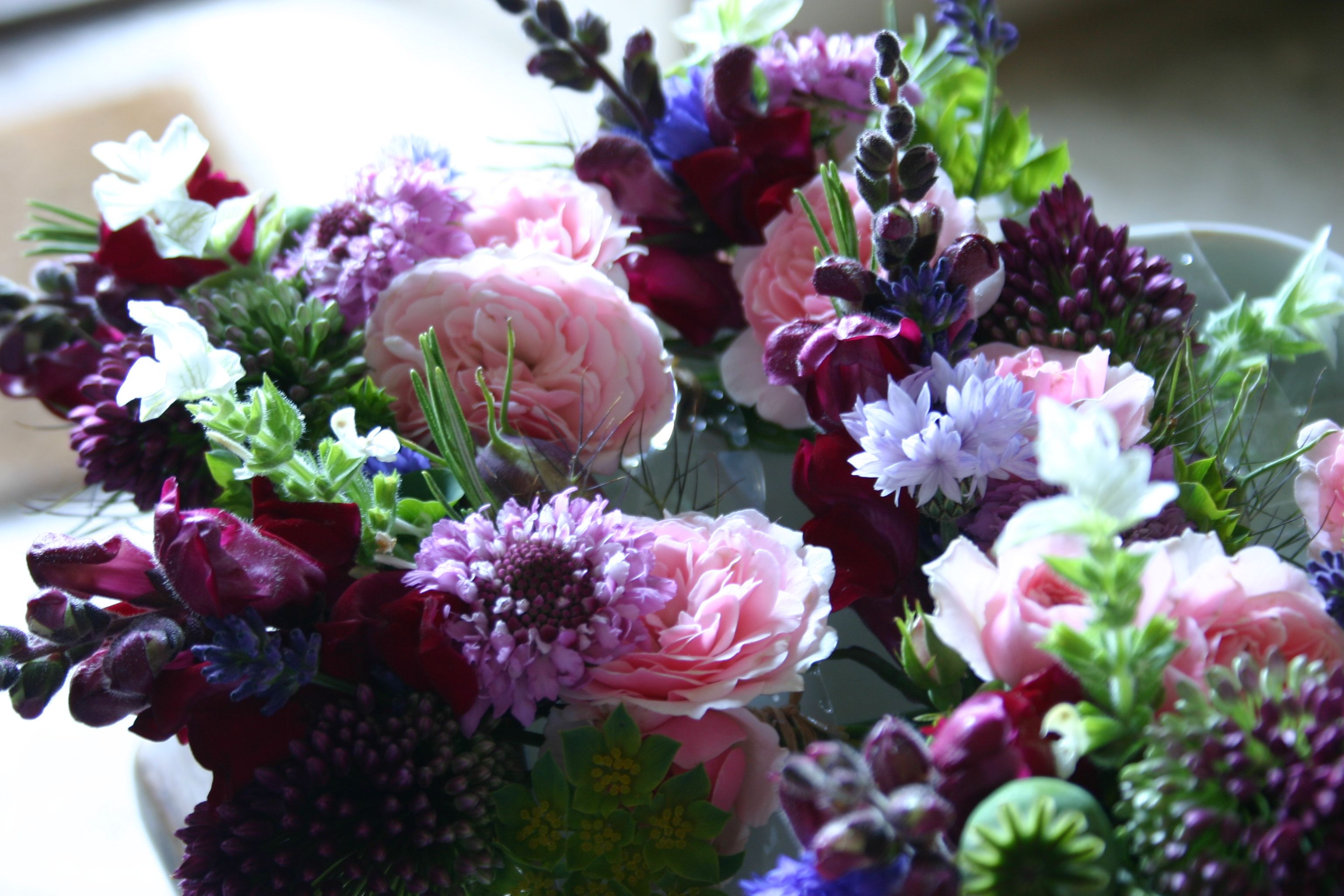serving dish posies by www.commonfarmflowers.com for victoria at www.blashford-snell.co.uk. Country flowers by post.