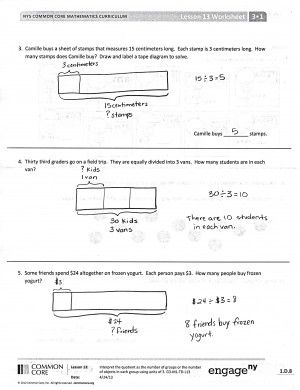 3rd Grade Math Problem Solving tape diagram   Common Core