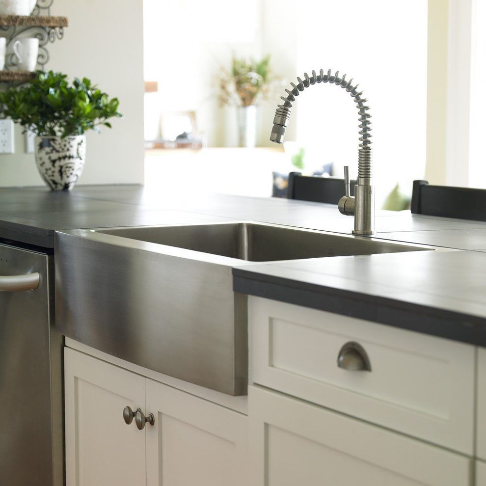 Vancouver Flush Mount Farmhouse Sink Kitchen Traditional With Island Transitional Cabinet And Drawer Pulls Farmer Farmhouse Sink Kitchen Kitchen Farmhouse Sink