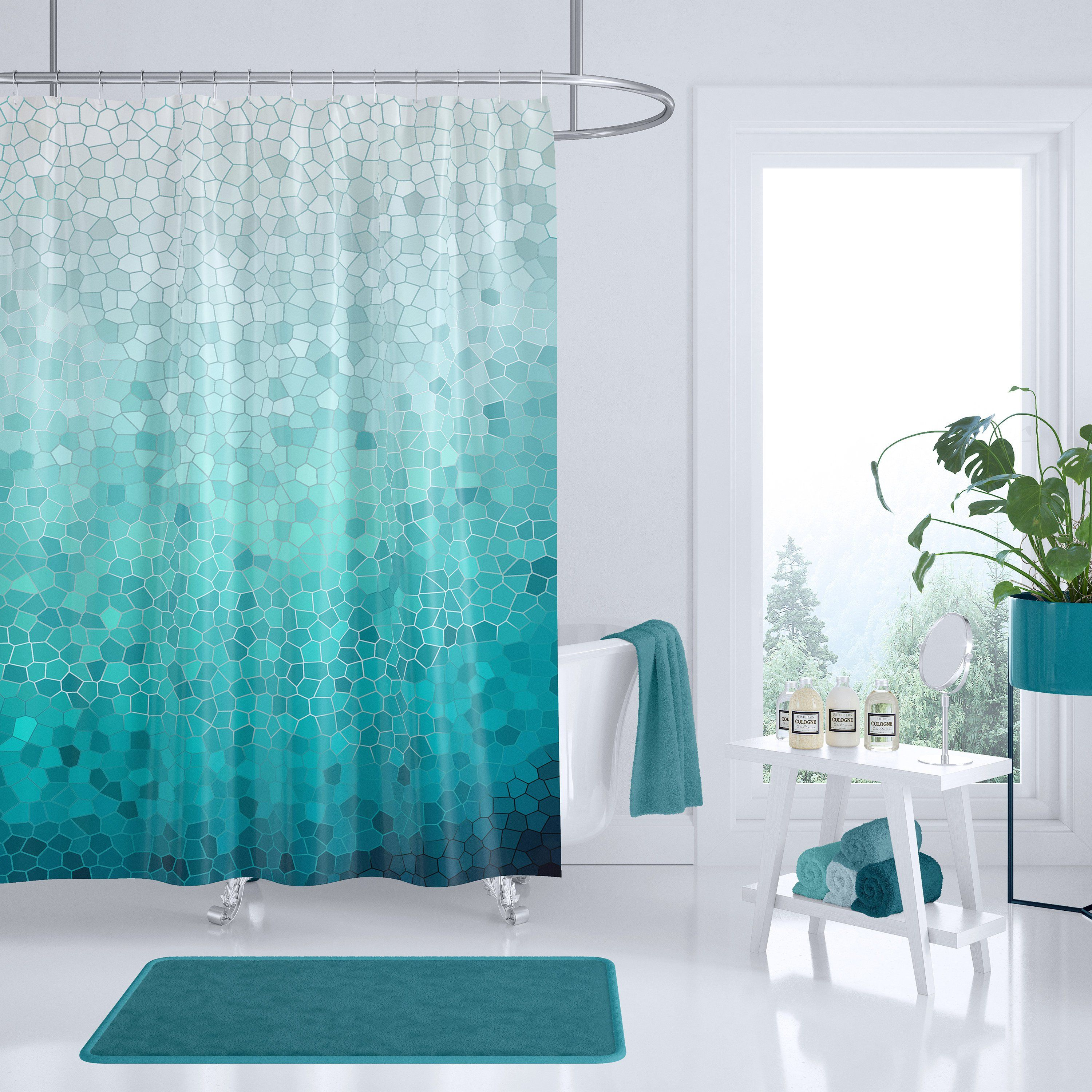 Indigo Blue White And Teal Shower Curtains Stripe Shower
