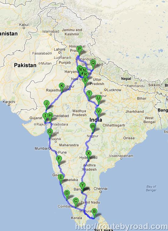 India Road Trip - Google Map - India in 2019 | India travel ...