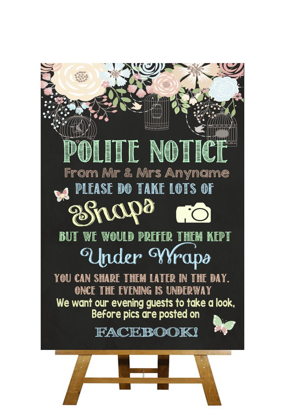 244039773fa7c6 Pretty Chalkboard Style Dont Post Photos On Facebook Personalised Wedding  Sign
