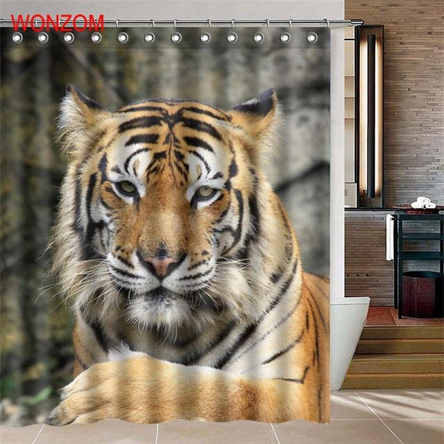 Wonzom Waterproof Shower Curtain Gift 3d Tiger Home Bathroom