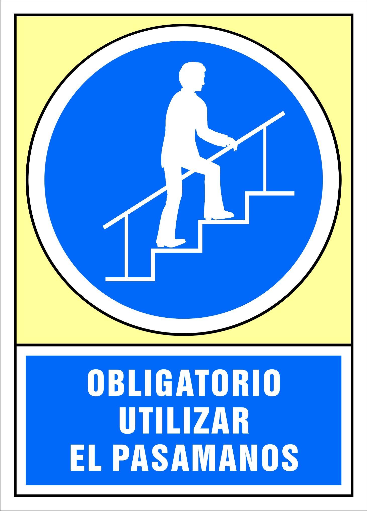 Senal Obligatorio Utilizar El Pasamanos Carteles De Seguridad