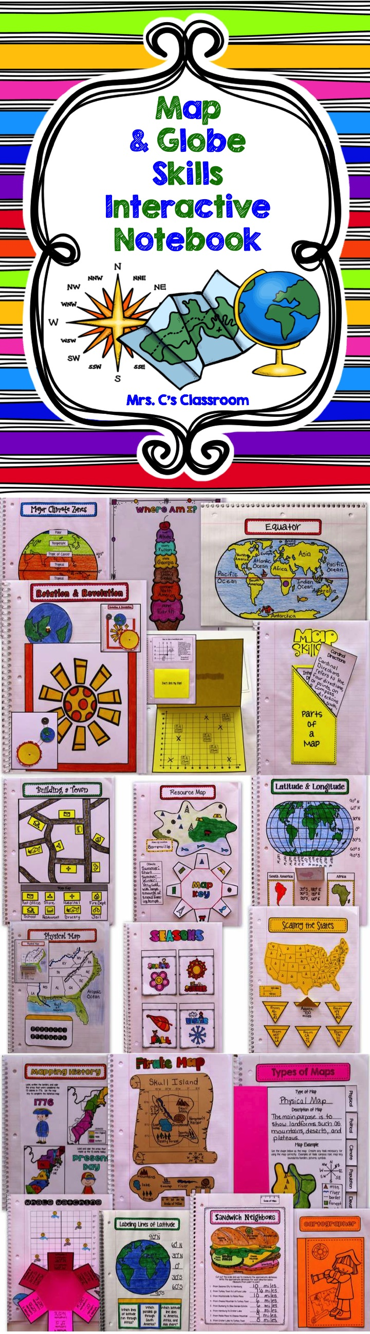 Interactive Notebook  Map and Globe Skills Social Studies