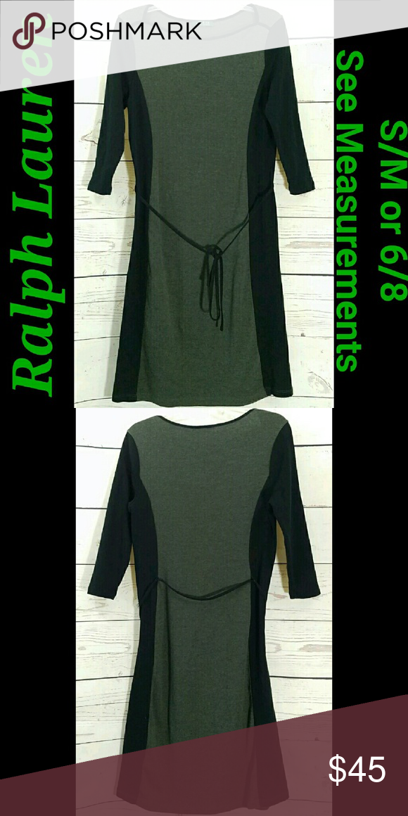 Ralph Lauren Tunic Dress Ralph Lauren Black & Gray Back Tie Long Sleeve Tunic Dress Size: S/M? 6/8?  No Size Tag See Measurements! No Material Tag Feels like Cotton Blend.  About this item:  Excellent Condition Black & Gray Back Tie  Across Chest: 18 Length: 39 Sleeve: 17 Hips: 18 Lauren Ralph Lauren Dresses Midi