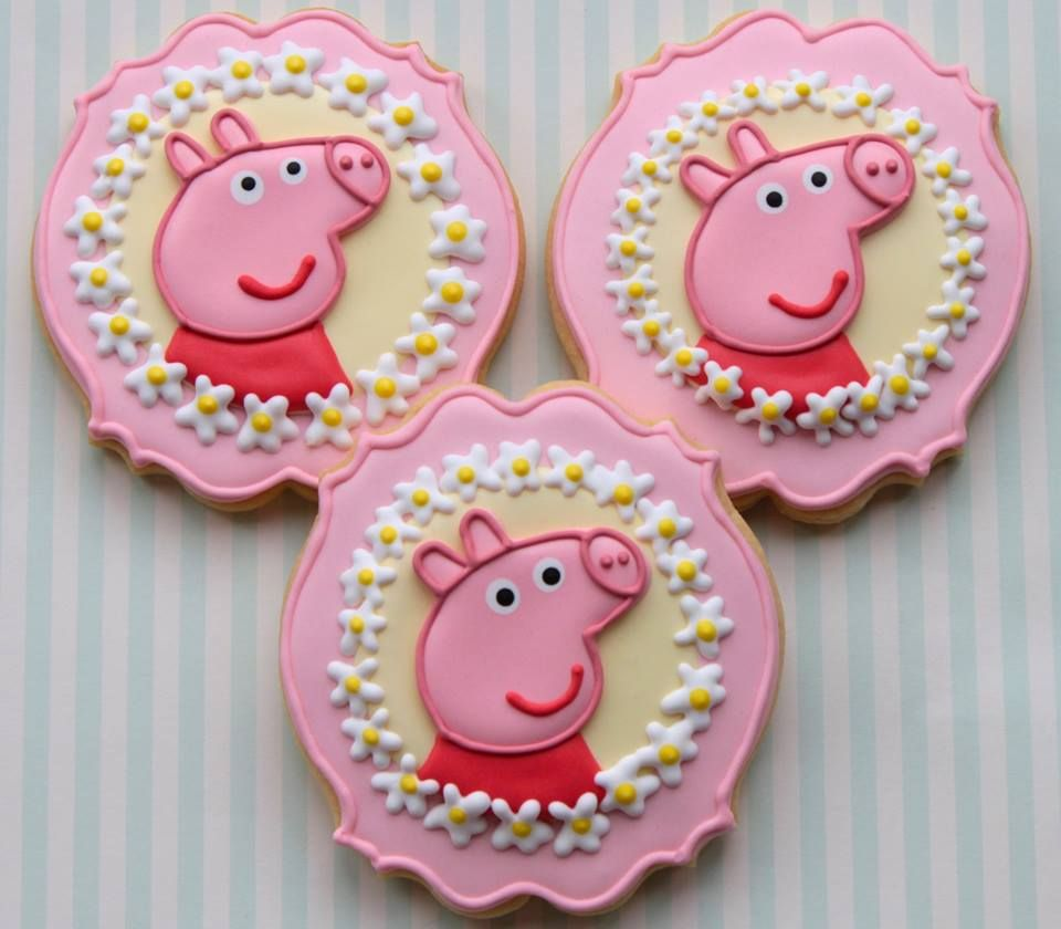 Peppa Pig Biscuits by Miss Biscuit, Melbourne, Victoria, Australia. You'll find this Cake Appreciation Society Member in our Directory at www.cakeappreciationsociety.com