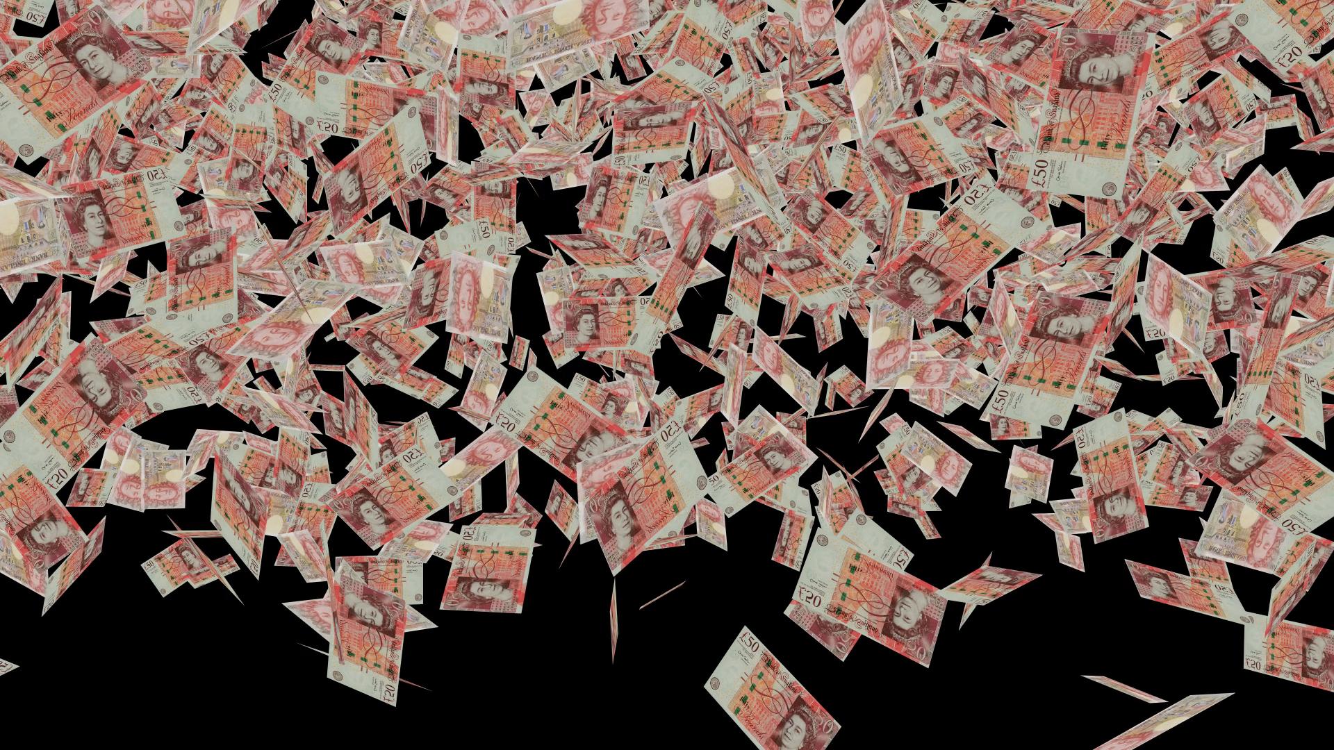 Raining Billions Of England Pounds Falling Close Up Shot Royalty Free Stock Video Footage Pound Money Free Stock Video Great Britan