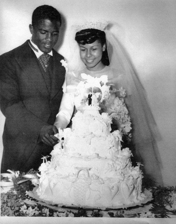 jackie and rachel with wedding cake on feb 10 1946