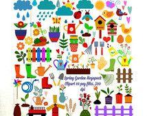 Spring Garden Megapack Clipart,69 png files Digital Download,300 dpi, Flowers,Fences,Vegies,Birdhouses,Plants, Clouds,Rain, Commercial OK