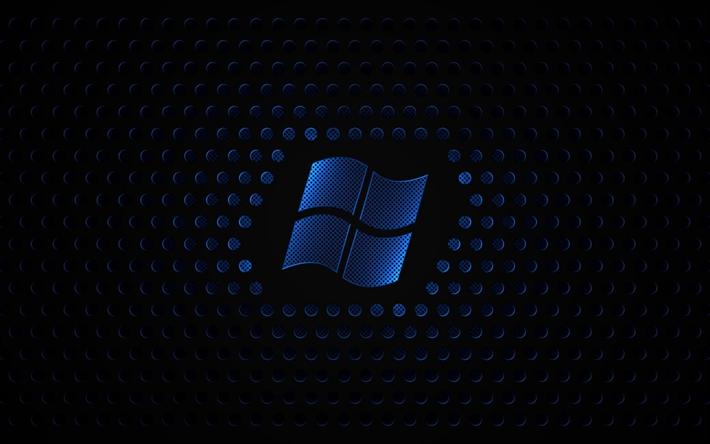 Scarica Sfondi Windows 4k Griglia Di Metallo Sfondo Scuro Logo