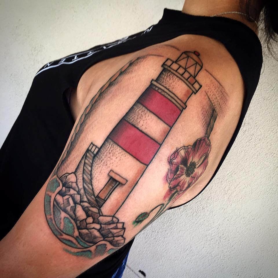 Tattoo old school tatuaggi old school pin up significato e foto quotes - Old School Traditional Lighthouse Sleeve Tattoo