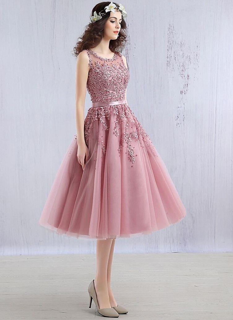 595a95878496 Light Blue Beaded Lace Appliques Knee Length Bridesmaid Dress -  Uniqistic.com