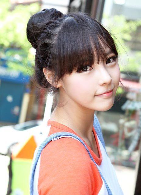 korean bun with fringe hairstyle hair pinterest
