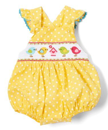f924d89de This Mustard Birdhouse Smocked Bubble Romper - Infant & Toddler is perfect!  #zulilyfinds