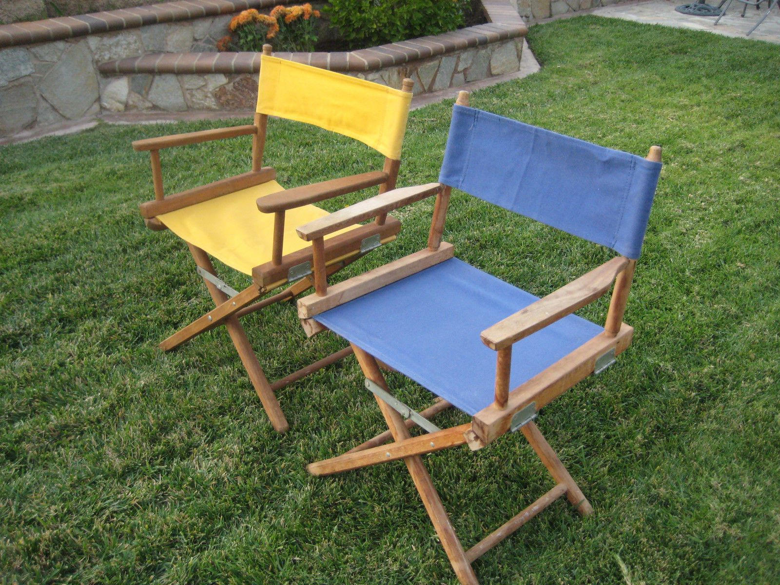 2 Vintage Folding Camping Canvas Directors Chairs Wood Tailgate