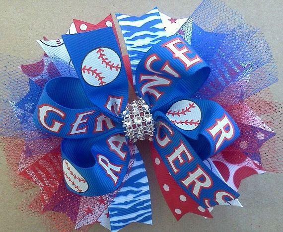 Texas Rangers Baseball Over the Top Boutique Hair Bow