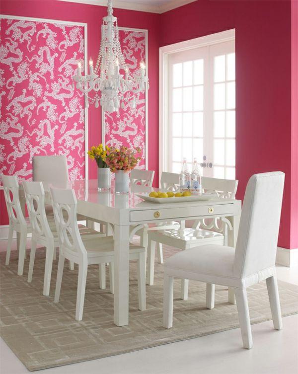 Tapeten Farben Ideen Esszimmer Mit Weißen Möbeln Und