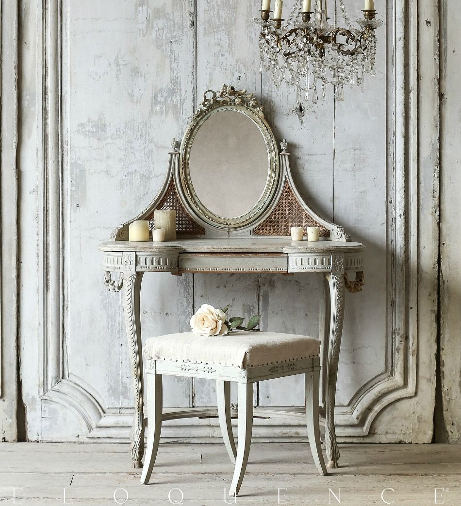 Eloquence One of a Kind Antique French Vanity Cream Mirror 1880 - Eloquence  One Of A - Antique French Vanity Antique Furniture