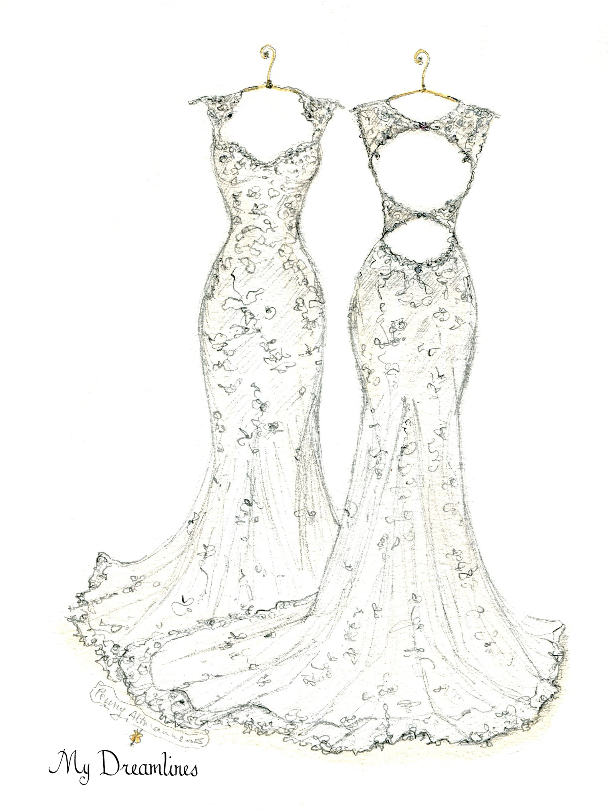 Personal Wedding Dress Sketch | Anniversary Gift | Wedding Gift ...