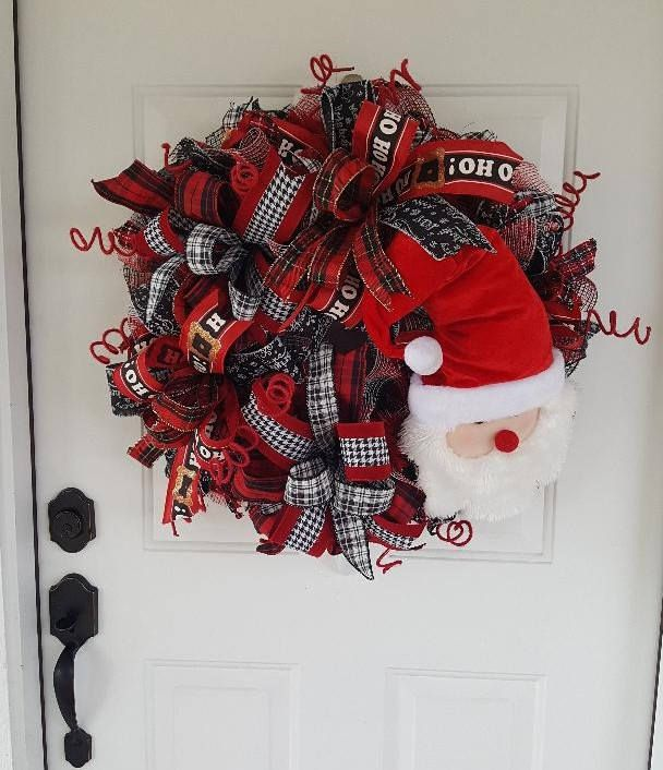 Santa Wreath/Christmas wreath/Ribbon wreath/Santa decor/Christmas - christmas wreath decorations
