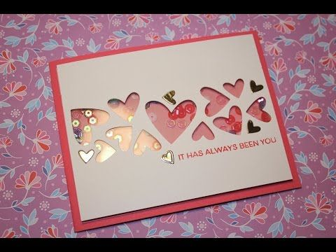 valentines day card 6 simple cas shaker card youtube - Valentines Day Cards Pinterest