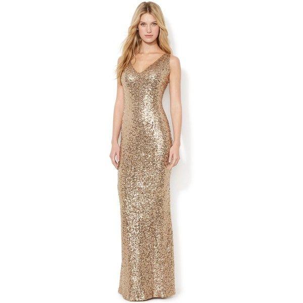 Lauren Ralph Lauren Sequined V-Neck Gown ($280) ❤ liked on Polyvore ...
