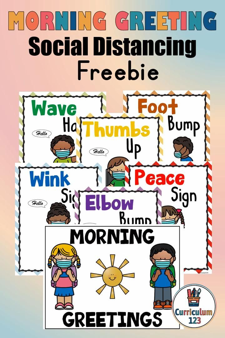 Morning Greetings Social Distance Posters Pack Freebie Back To School