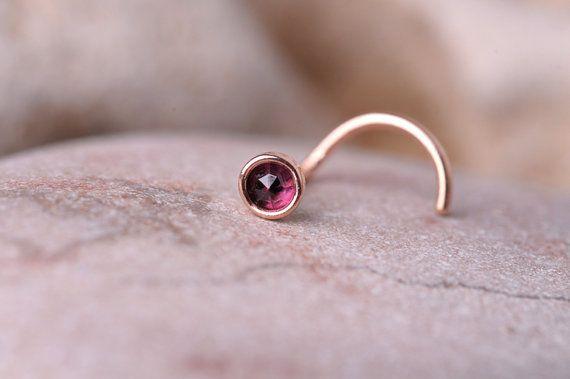 NOSE RING Garnet stone 2mm in 3mm 14K rose gold filled setting. Also Cartilage or Ear Stud handcrafted
