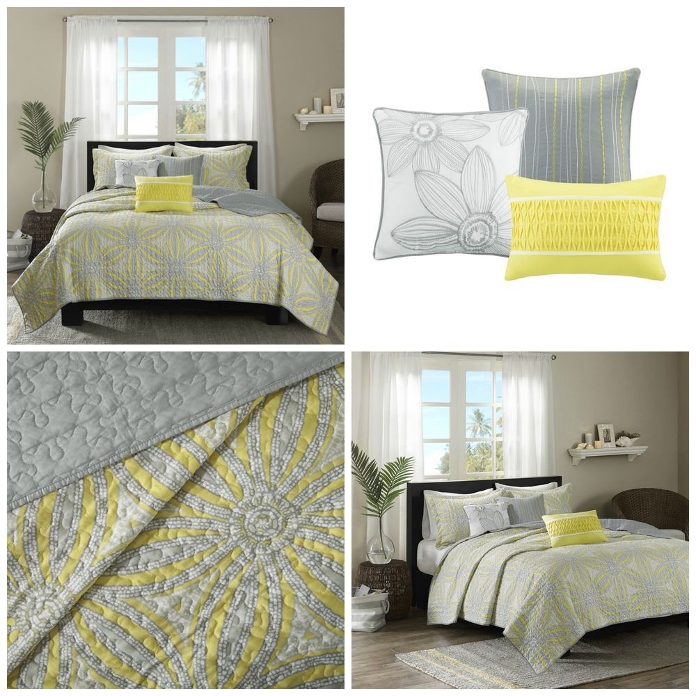 King Size Yellow Gray Floral Quilt Coverlet Bedding Set 6 Piece Shams  Pillows