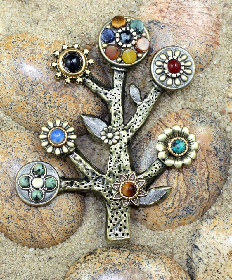 Handmade Silver and Gold Tree of Life Pin Spiritual and Unique Brooch
