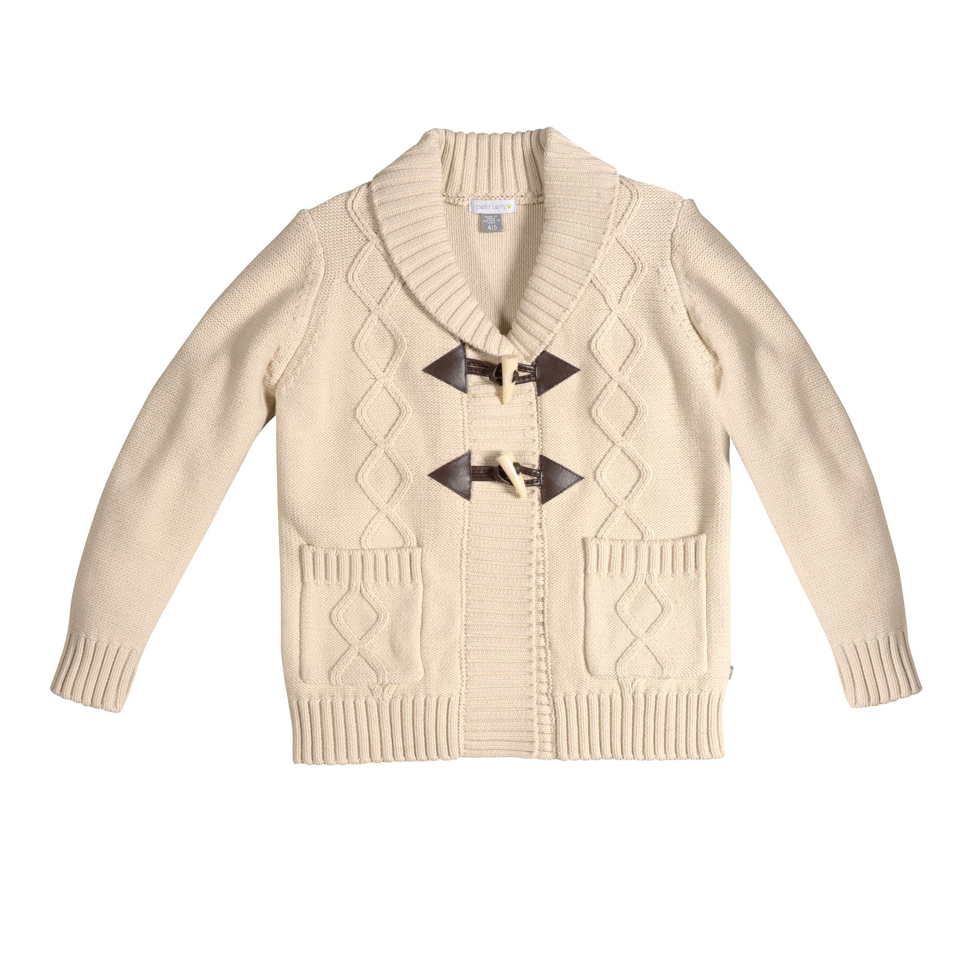 a48c529b159 Petit Lem 2014 2015 Fall Winter Collection. Jet Set collection. Stylish and  trendy beige cable knit sweater with a V-neck collar and faux brown leather  and ...