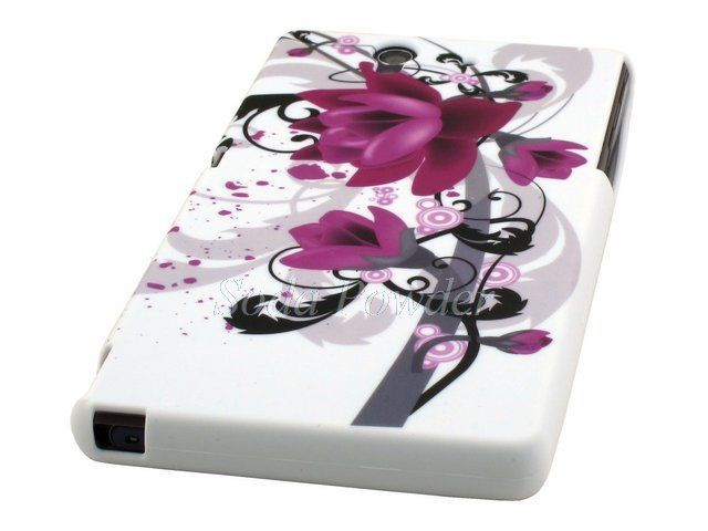 Rubber Soft Case Cover for Sony Xperia Z C6603 (Dark Purple Flower) #UnbrandedGeneric