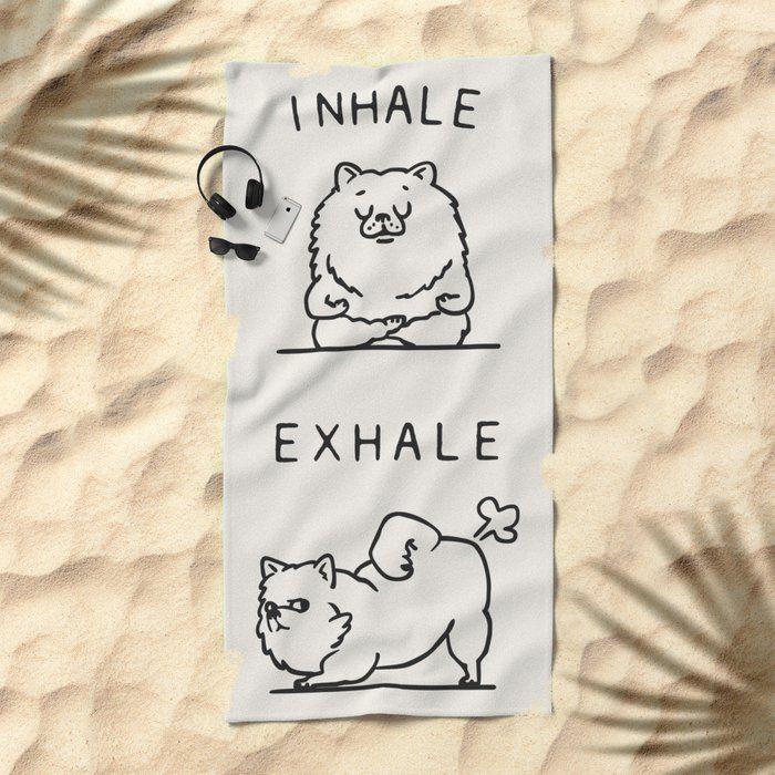 Inhale Exhale Pomeranian Oversized Beach Towel by Huebucket - Beach Towel