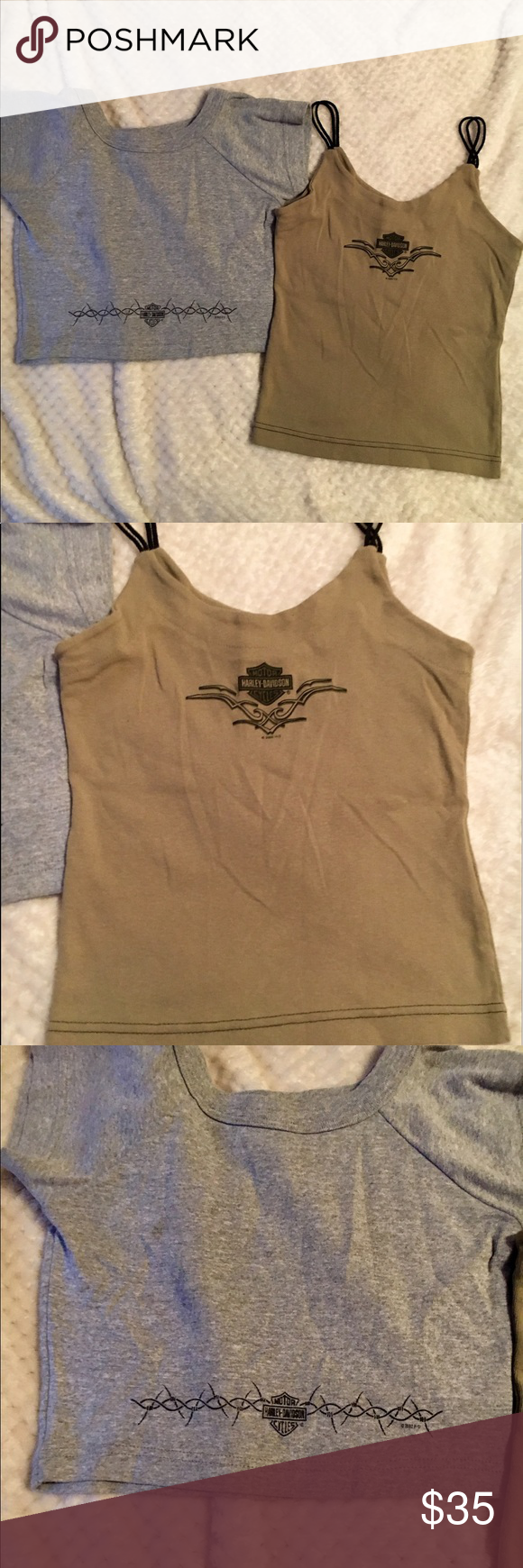 2 Harley Davidson tops In great condition 2 Harley Davidson tops size small, gray crop top t shirt and Double rope strap tank top black and brown Harley-Davidson Tops Tank Tops
