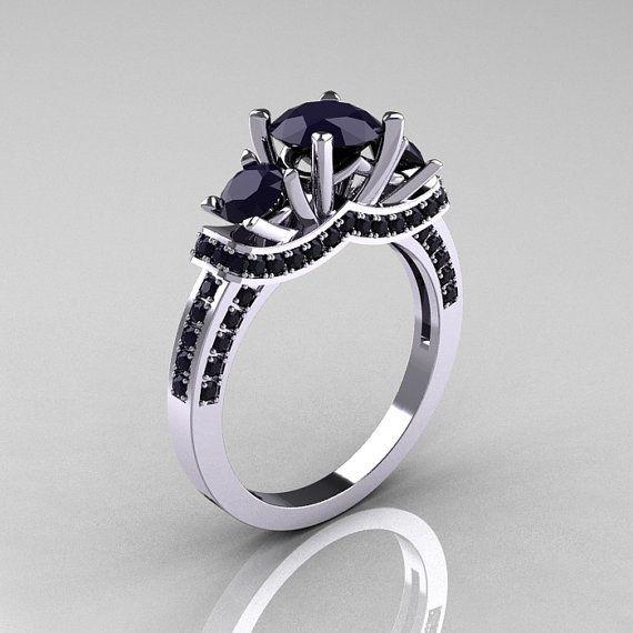 French Platinum Three Stone Dark Blue Sapphire Wedding Ring