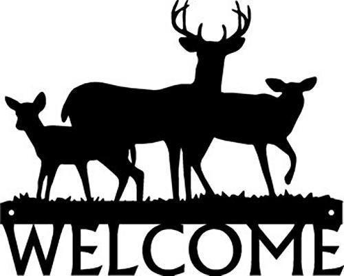 Deer Buck Family Wildlife Metal Art WELCOME SIGN Plaque Country Decor | eBay