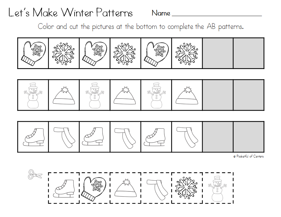 winter pattern printables janauary and february preschool math preschool education. Black Bedroom Furniture Sets. Home Design Ideas