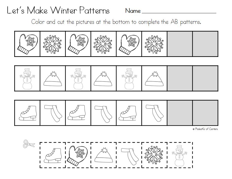 Winter Pattern Printables Pattern worksheet, Math